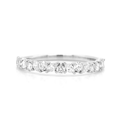 14K Marquise & Round Alternating Prong Set Diamond Band