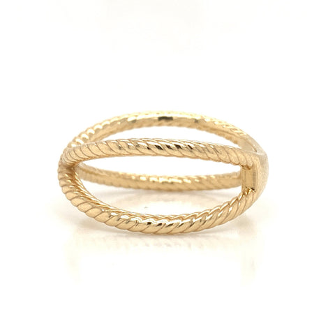 Braided Cross Plain Gold Band