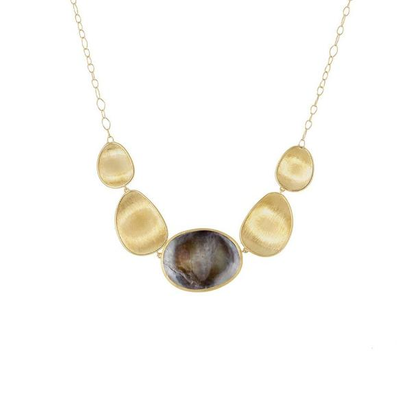 Lunaria Yellow Gold and Black Mother of Pearl Graduated Necklace