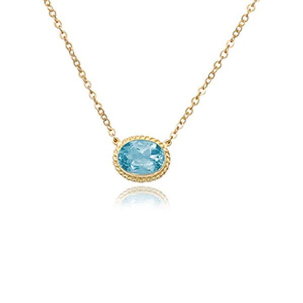 Yellow & Blue Topaz Milgrain Bezel Necklace