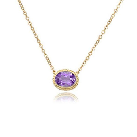 Oval Milgrain Colored Stone Bezel Necklace