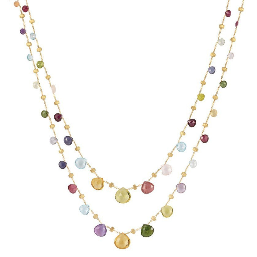 Paradise Yellow Gold & Mixed Stone Graduated Long Necklace