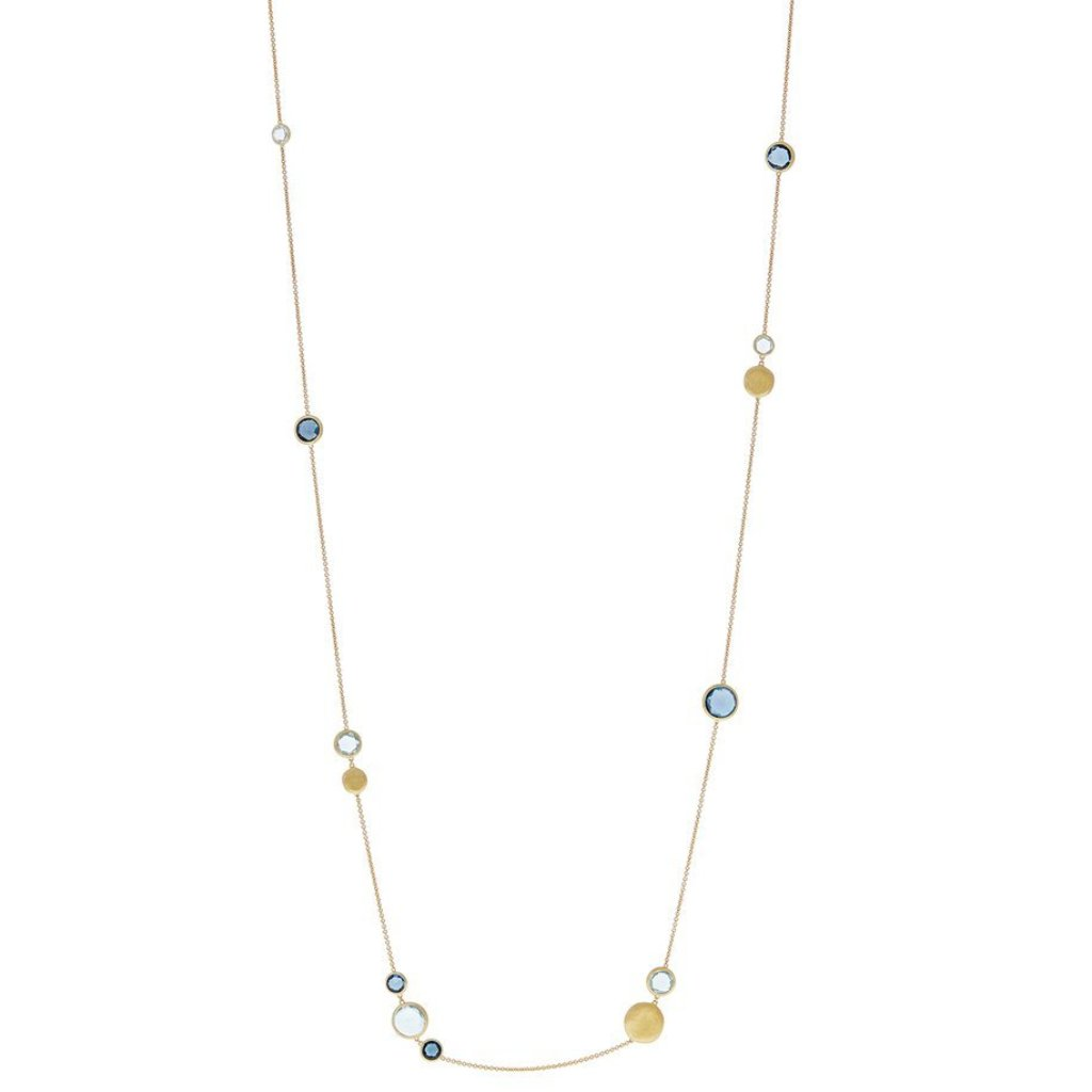 Jaipur Yellow Gold and Mixed Blue Topaz Long Necklace