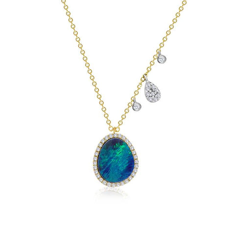 Yellow Gold Diamond & Opal Halo Diamond Necklace