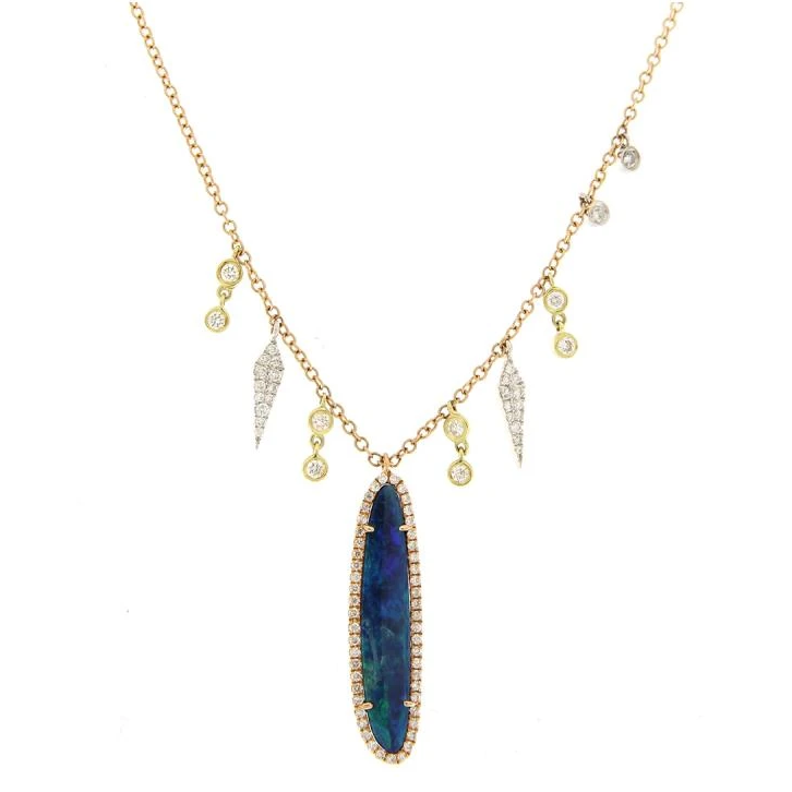 Yellow Gold Diamond & Opal Pave Diamond Necklace