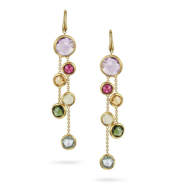 Jaipur Yellow Gold & Mixed Gemstones Two Strand Earrings