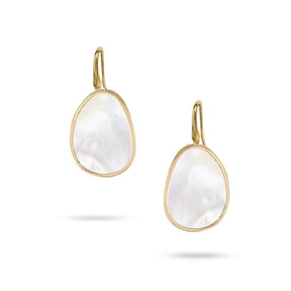 Lunaria Yellow Gold & White Mother of Pearl Pave Drop Earrings