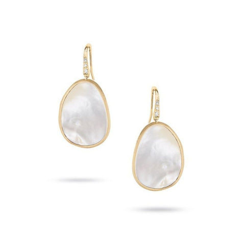 Lunaria Yellow Gold and White Mother of Pearl with Diamond Pave French Wire Earrings