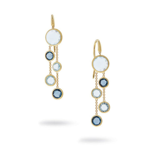 Jaipur Yellow Gold and Mixed Blue Topaz Two Strand Earrings