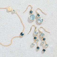 Jaipur Yellow Gold and Mixed Blue Topaz Drop Earrings