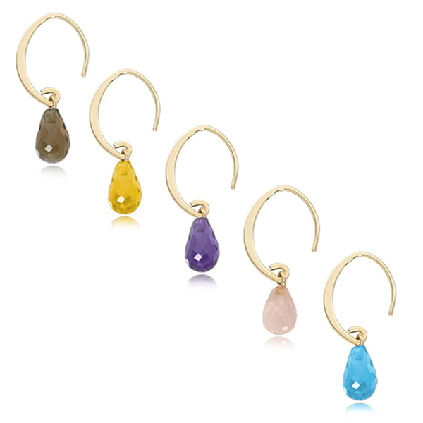 Mini Colored Gemstone Sweep Drop Earrings