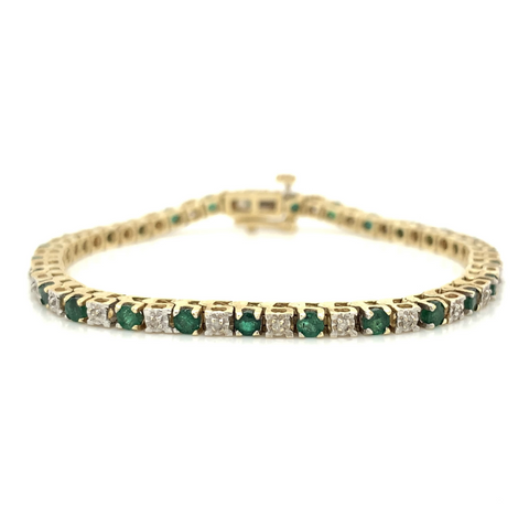 Yellow Prong Set Emerald & Diamond Tennis Bracelet