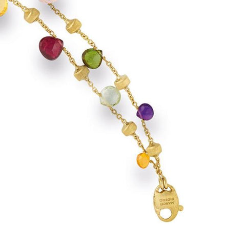 Paradise Yellow Gold & Mixed Stone Two Strand Graduated Bracelet