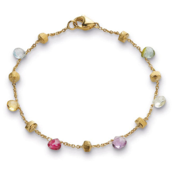 Paradise Yellow Gold & Mixed Stone Single Strand Bracelet