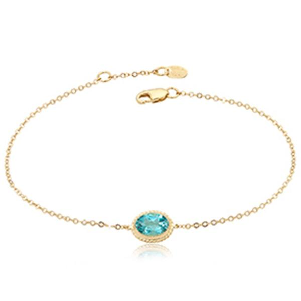 Yellow & Blue Topaz Oval Bezel Chain Bracelet