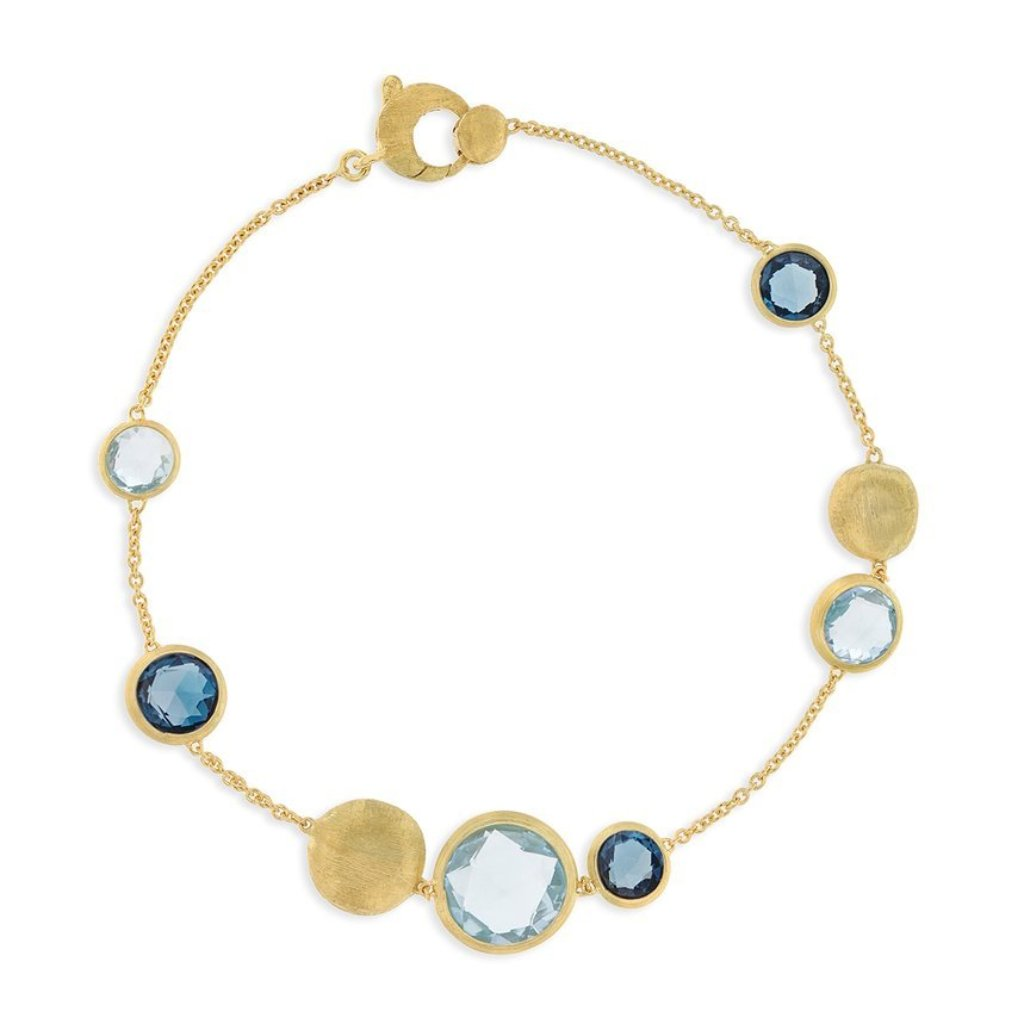 Jaipur Yellow Gold and Mixed Blue Topaz Bracelet