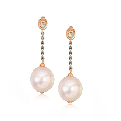 Large White Freshwater Pearl Chain & Diamond Dangle Earrings