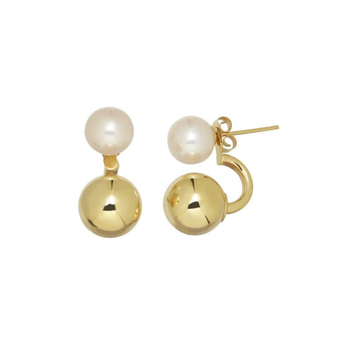 White Freshwater Pearl & Gold Huggie Earrings