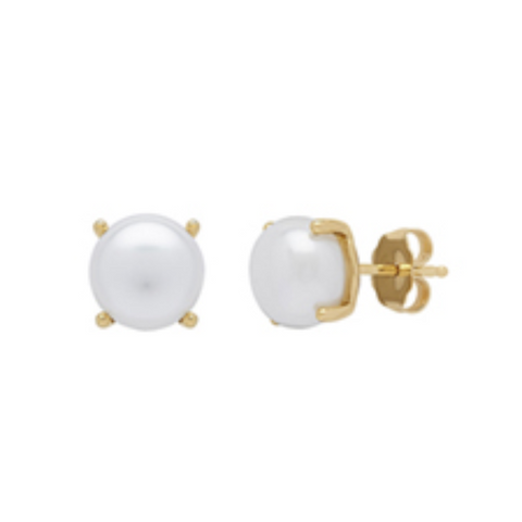 Yellow Gold & Pearl Stud Earrings