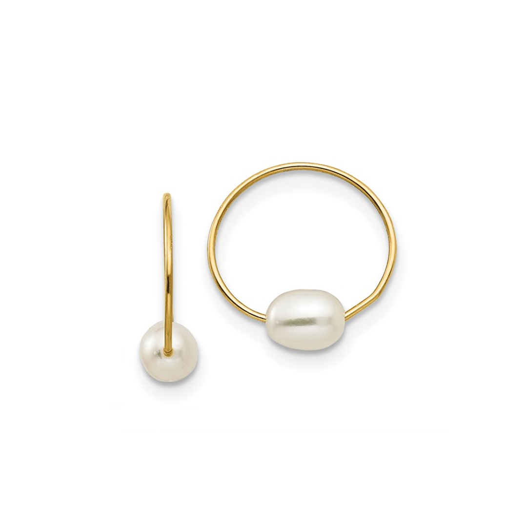 Petite Single Station Ultra Delicate Pearl Endless Hoops