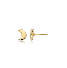 Small Puffed Half Moon Plain Gold Stud Earrings
