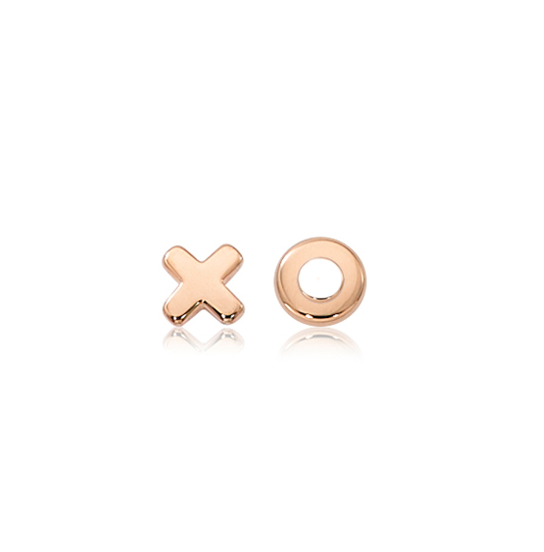 Small Flat Hug & Kiss Plain Gold Stud Earrings