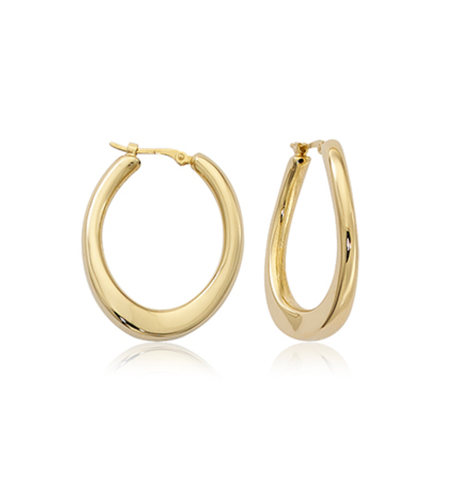 Medium Offset U-Shape Hoop Earrings
