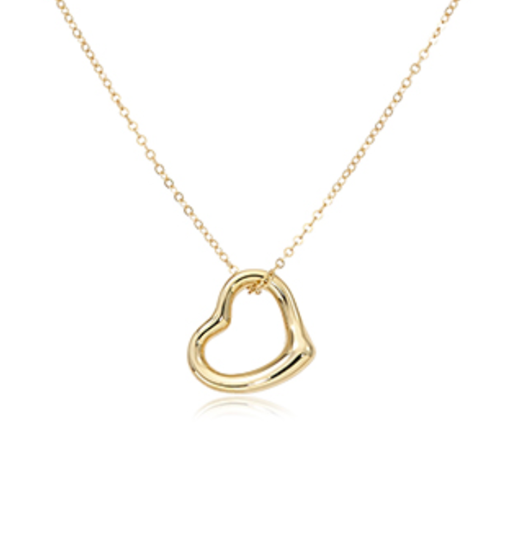 Open Heart 12mm Plain Gold Pendant