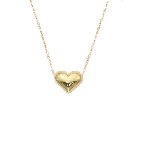 Puffed Heart Plain Gold Pendant