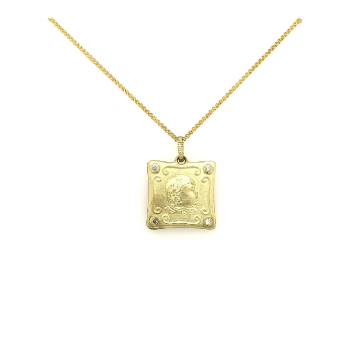 Yellow Gold Babylicious Square Diamond Pendant