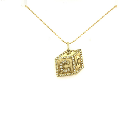 "Yellow Gold Babylicious Square ""C"" Block Diamond Pendant"