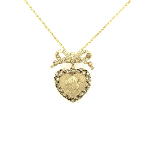 Yellow Gold Babylicious Heart & Bow Diamond Pendant