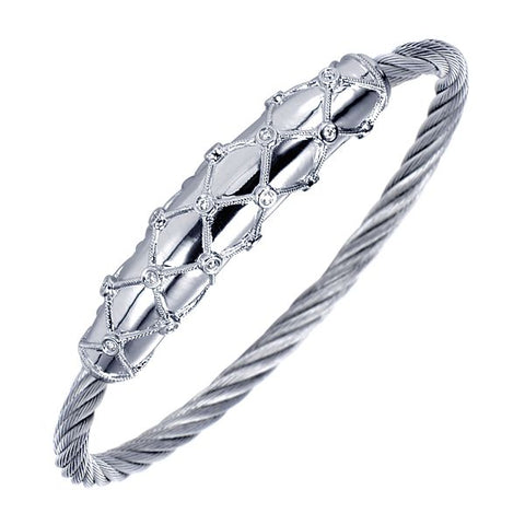 Silver/SS & Diamond Bezel Cushion Bangle