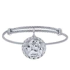 Silver/SS Round Angel Disk Bangle