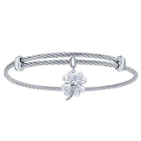 Silver/SS Round Four Leaf Clover Disk Bangle