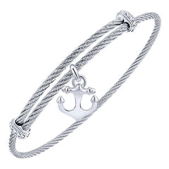 Silver/SS Round Anchor Disk Bangle