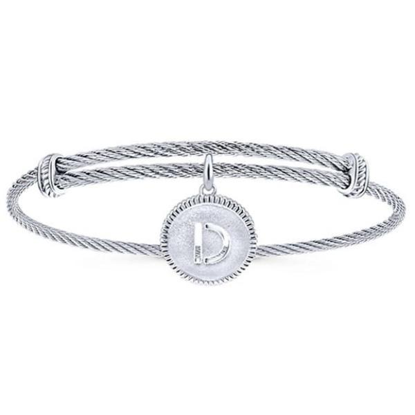 Silver/SS Round Initial Disk Bangle