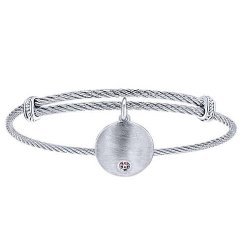 Silver/SS Round Birthstone Accent Disk Bangle