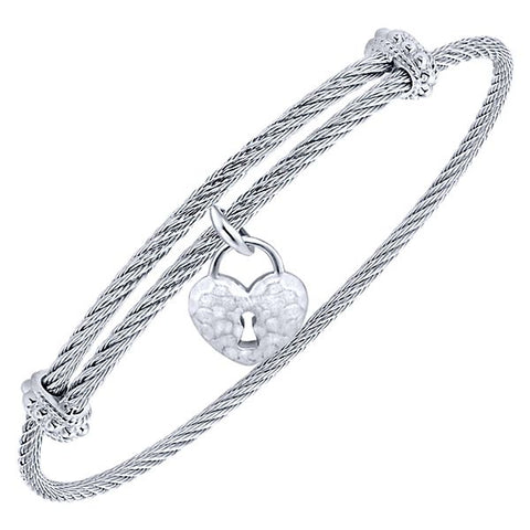 Silver/SS Hammered Heart & Lock Bangle