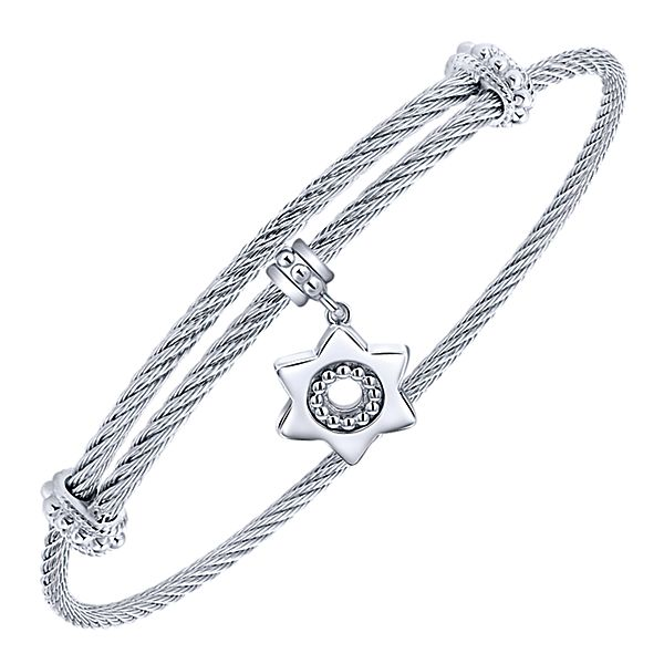Silver/SS Star Charm Bangle