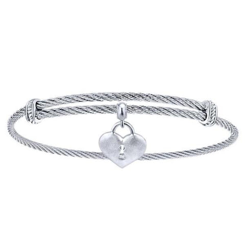 Silver/SS Satin Heart & Lock Bangle