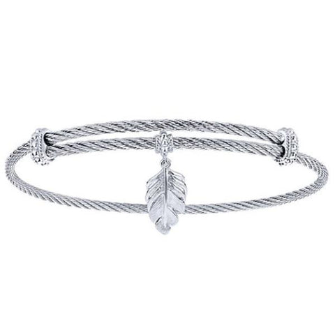 Silver/SS Leaf Charm Bangle
