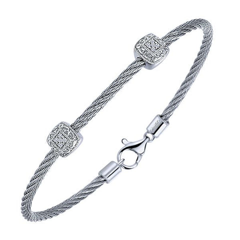 Silver/SS & Diamond Two Station Pave Bangle