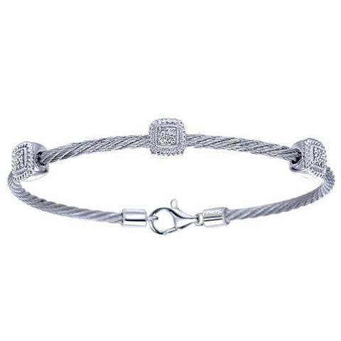 Silver/SS & Diamond Three Square Station Pave Bangle