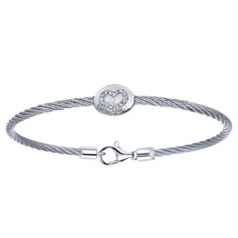 Silver/SS & Diamond Oval Heart Pave Bangle
