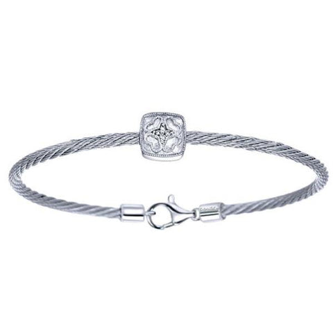Silver/SS & Diamond Flower Station Square Pave Bangle