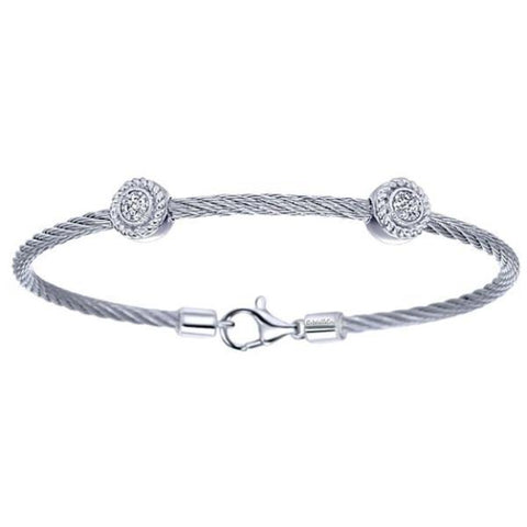 Silver/SS & Diamond Two Station Round Pave Bangle