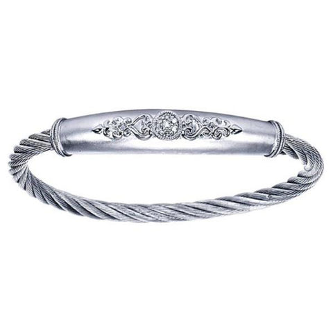 Silver/SS & Diamond Swirl Bar Bangle