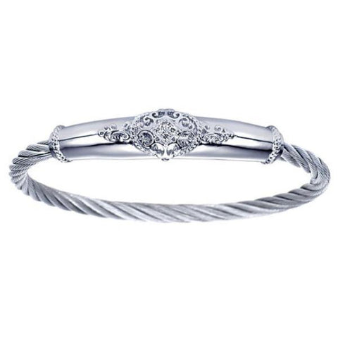 Silver/SS & Diamond Oval Swirl Bar Bangle