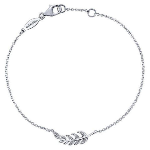 Silver/SS & Diamond Leaf Chain Bracelet